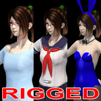 Rigged model of Asian girl Natsumi in various outfit