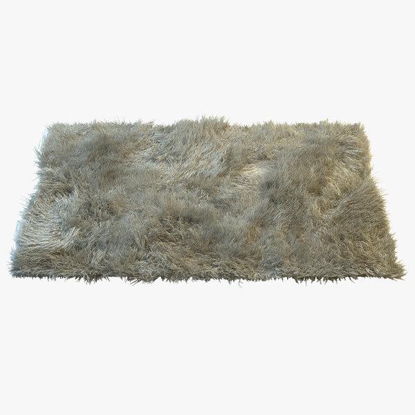 3d Model Of Fluffy Fur Carpet