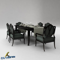 dining table set 3d 3ds
