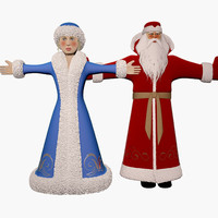 3d russian snow girl grandfather model
