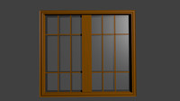 3d window wood model