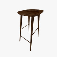 nordic wooden bar stool 3d model