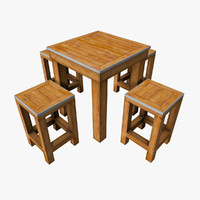 small wooden table set 3d obj