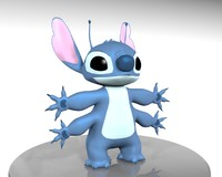 cartoon character stitch 626 3d model