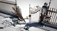 broken ornamental gate