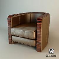 armchair dorothy ebano 3d model