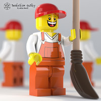 Lego Garbage Guy Figure with Broom