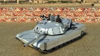3d model tank abrams m1a2 soldiers