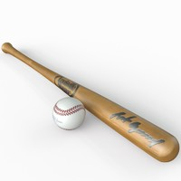 Baseball Bat and Ball Low Poly