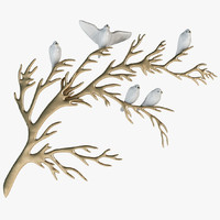 3d model bijan porcelain birds brass