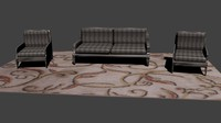 couch chairs carpet 3d 3ds