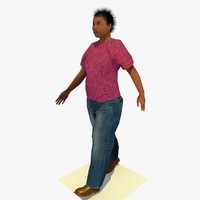 3d 3ds realistically walking african female body