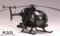 3d model mh-6 little bird helicopters