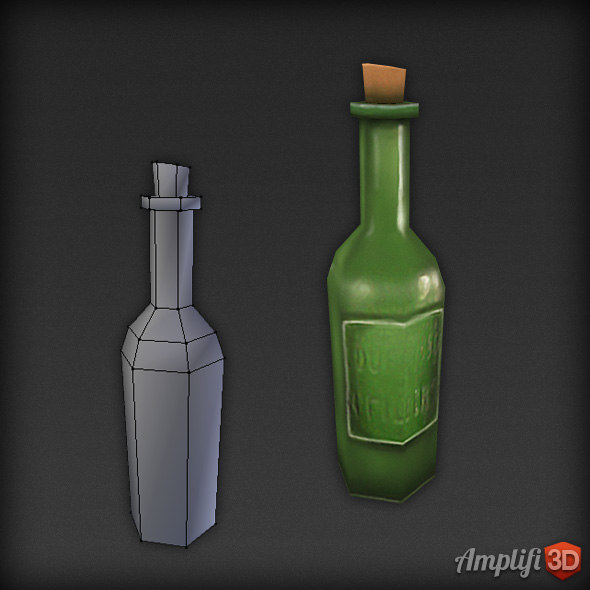3d bottle beer model - Low Poly Beer Bottle... by Amplifi3D