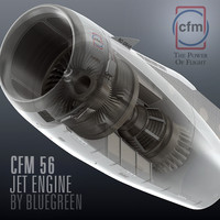 cfm56 jet engine 3d max