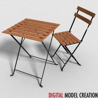 3d model of set furniture bistros