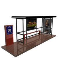bus stop shelter glass 3d model