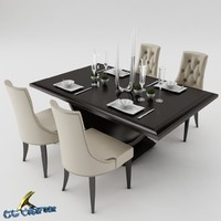 dining table set 3d obj