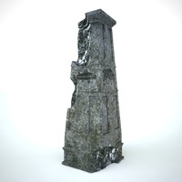 3d pillar antique model