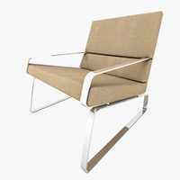 3ds max armchair light beige chrome