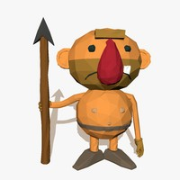 cartoon caveman 3d model