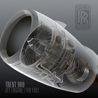 3d trent 900 jet engine