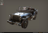 Jeep Willys Low poly + Hi poly