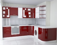 3d kitchen red white model