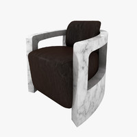 3d stylish armchair marble