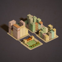 3d block urban building