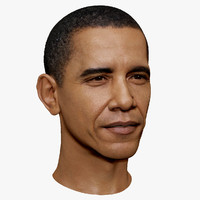 Barack Obama Serious face High and Low Polygon 3D Head Portrait