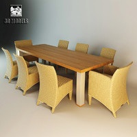 dining table chairs royal 3d model