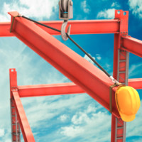 cartoon construction crane 3d obj