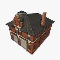 3d old-fashioned department building model