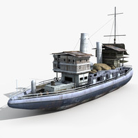 ship old cargo 3d obj