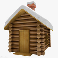 3d model of winter wood cabin