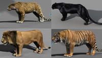 3d model tiger lion panther leopard fur