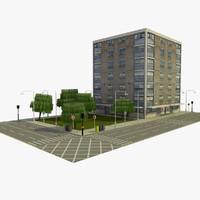 3d model city block 8 street
