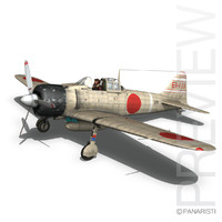 3d model mitsubishi a6m2 zero aircraft carrier