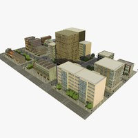 city block street 3d 3ds
