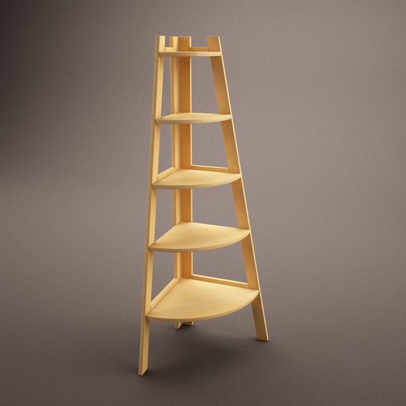 wooden corner shelf 3d c4d