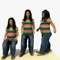 3d walking african d female character