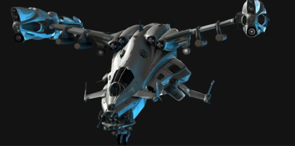 fbx copperhead helicopter - Copperhead Sci-fi Helicopter... by EvilChaotic