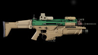 3d model of scar-h rifle