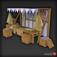 Low Poly Market Stall Fabric