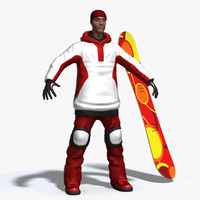 3d realistic snowboarder