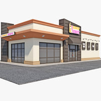 dunkin donuts restaurant 3d model