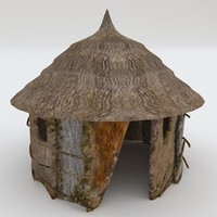 3d model tropical hut
