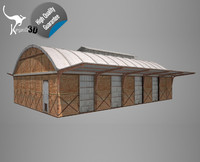 3d model industrial railway buildings