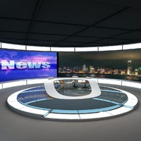 tv news studio 2 3d max